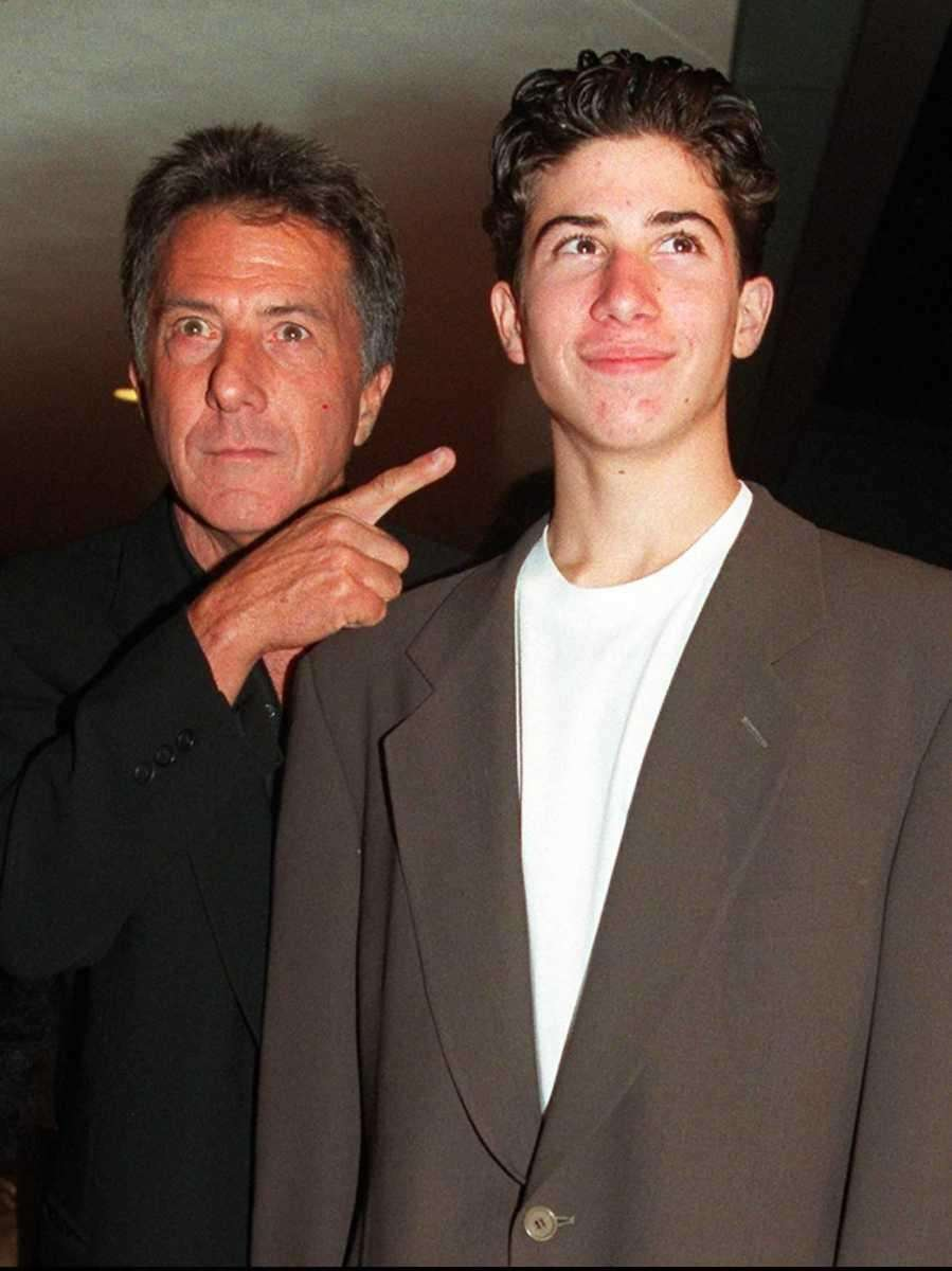 Dustin Hoffman jokingly points to his son Jake's