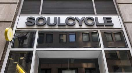 A SoulCycle fitness studio stands in Lower Manhattan