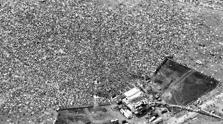 An aerial photo of the crowd at the