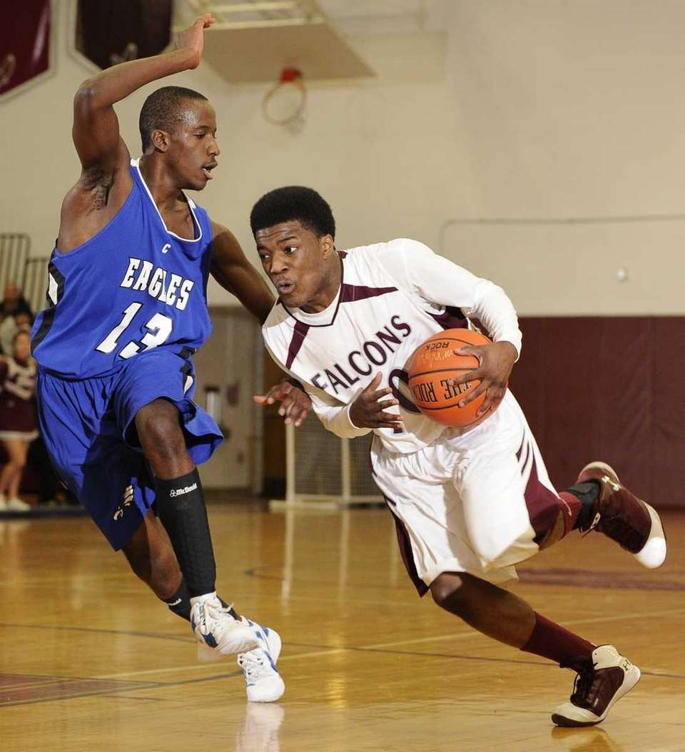 Deer Park guard Kyle Bradford drives hard against