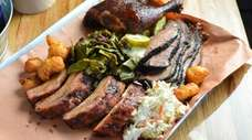 A barbecue combination platter at Smoke Shack Blues