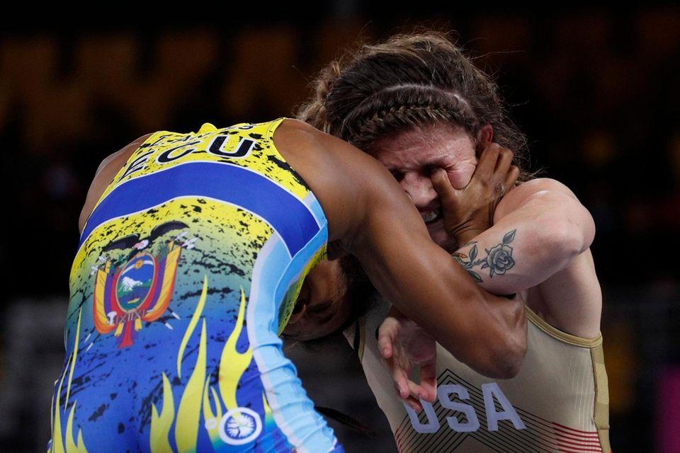 Jenna Burkert of the U.S. gets an eye