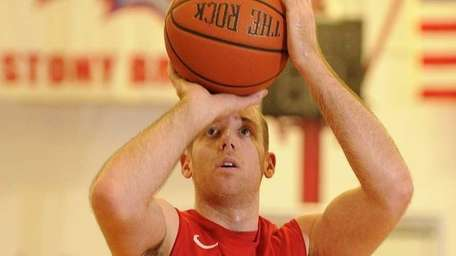 Stony Brook guard Bryan Dougher shoots a foul