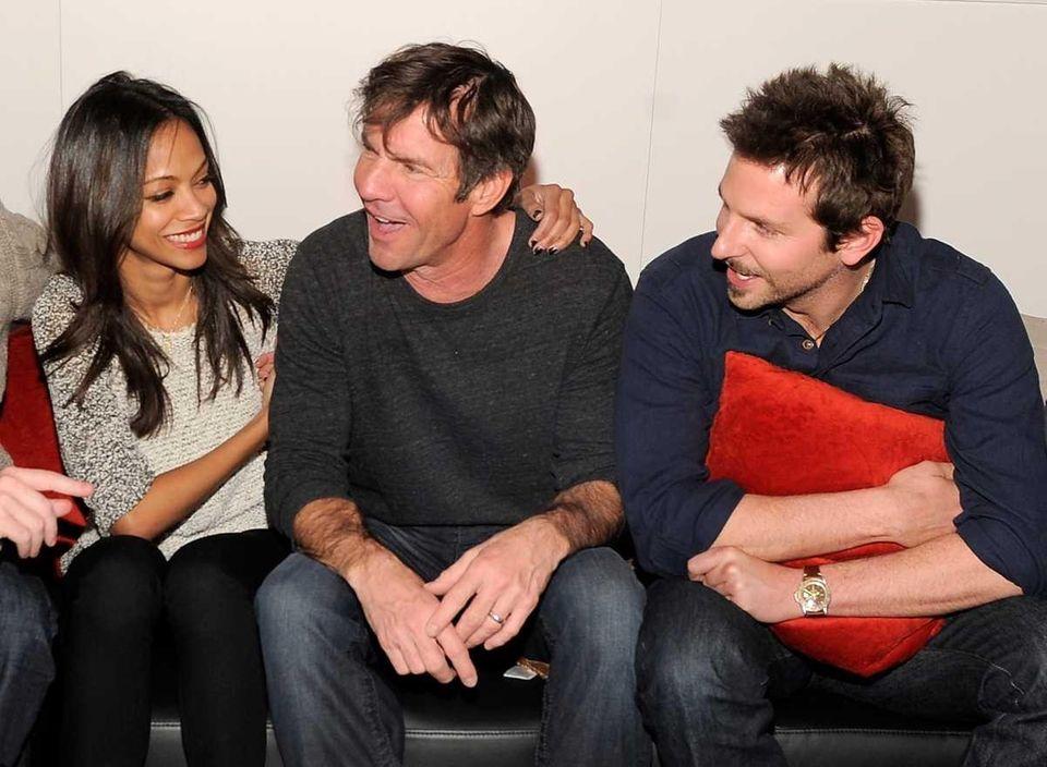 Zoe Saldana, Dennis Quaid and Bradley Cooper (Jan.