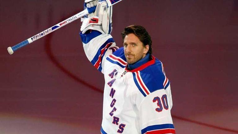 Goalie Henrik Lundqvist of the New York Rangers