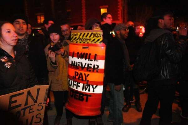 Occupy Wall Street protesters march towards Thompkins Square