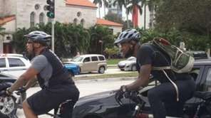 LeBron James rides his bike to the Heat-Bulls