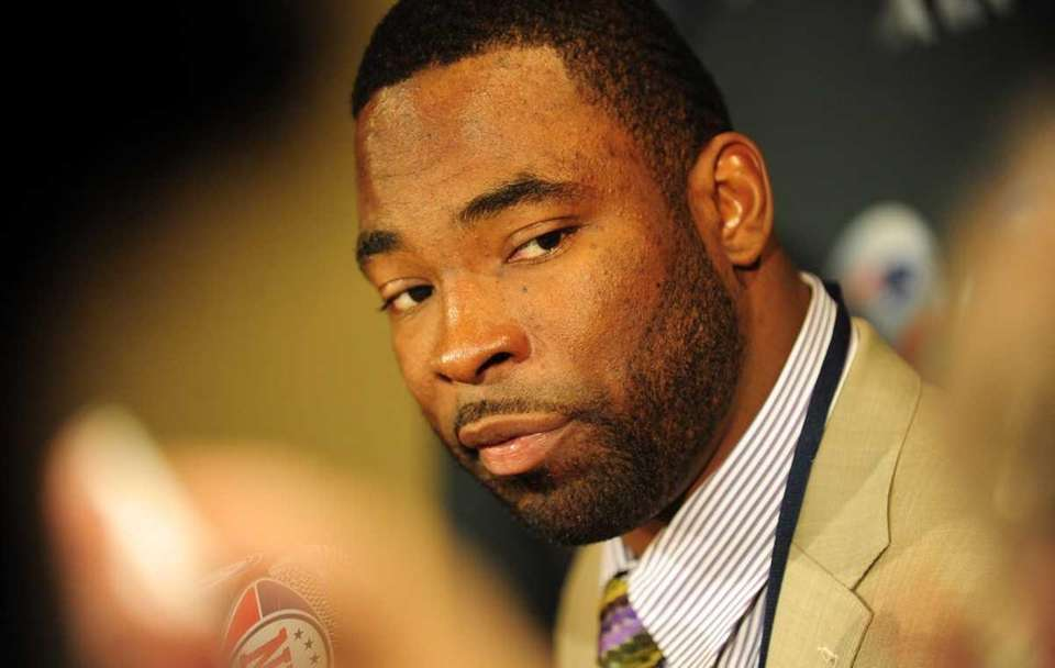 New York Giants Justin Tuck addresses the media