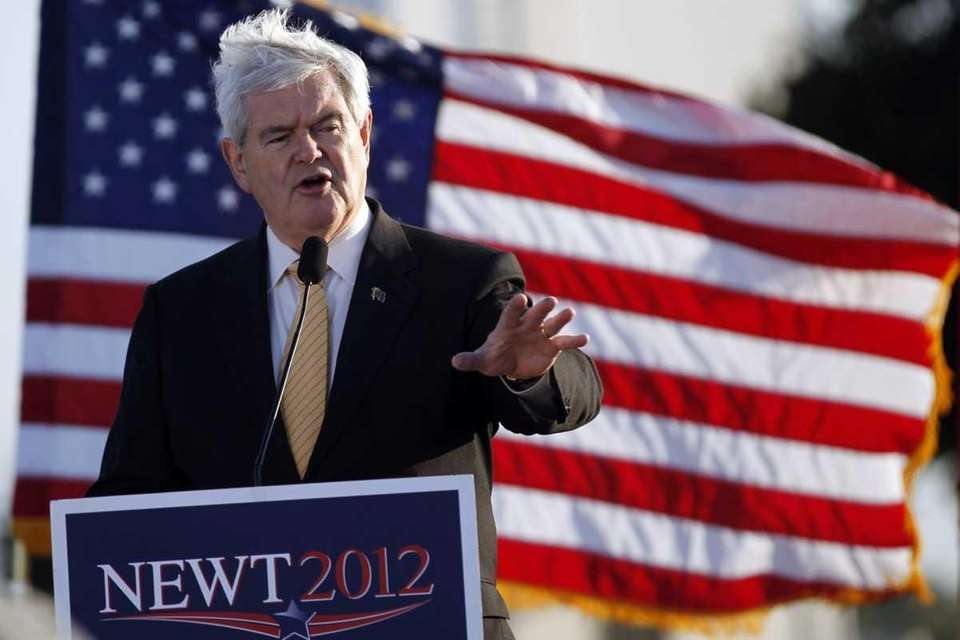 Republican presidential candidate Newt Gingrich speaks during campaign