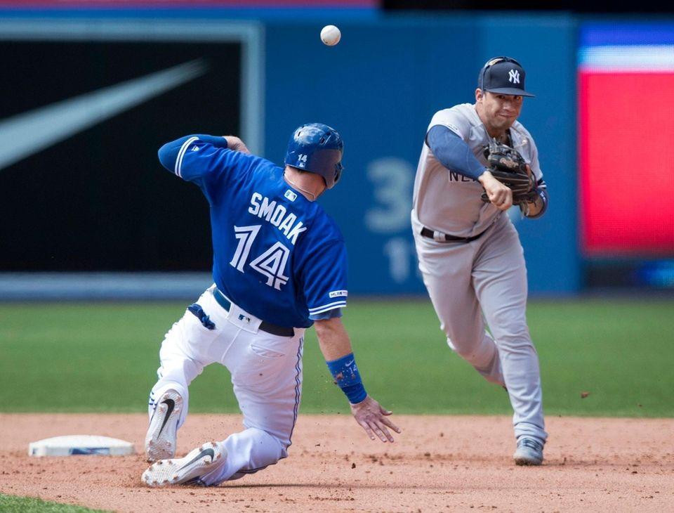Blue Jays first baseman Justin Smoak is forced