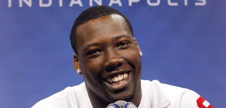 New York Giants defensive end Jason Pierre-Paul smiles