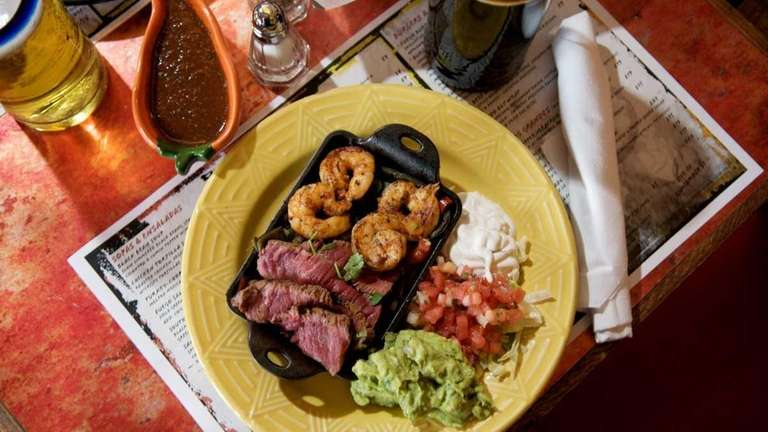 A platter of surf-and-turf fajitas -- filet mignon