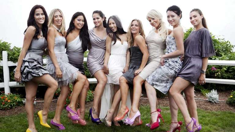 Twah Nguyen (middle) poses with her bridesmaids, seen