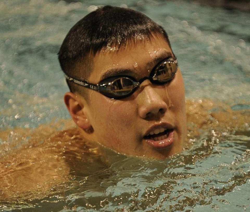 Great Neck South's Samuel Mo cools down after