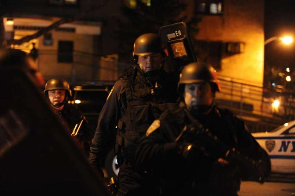 NYPD officers search 370 Bushwick Ave. in Brooklyn