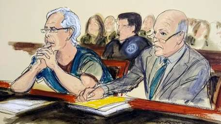 In a July 15 sketch, Jeffrey Epstein, left,