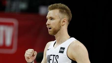 The Nets' Dzanan Musa reacts after a play