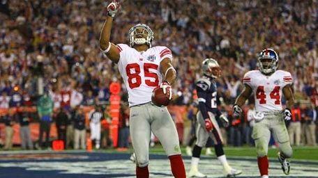David Tyree #85 of the Giants celebrates touchdown