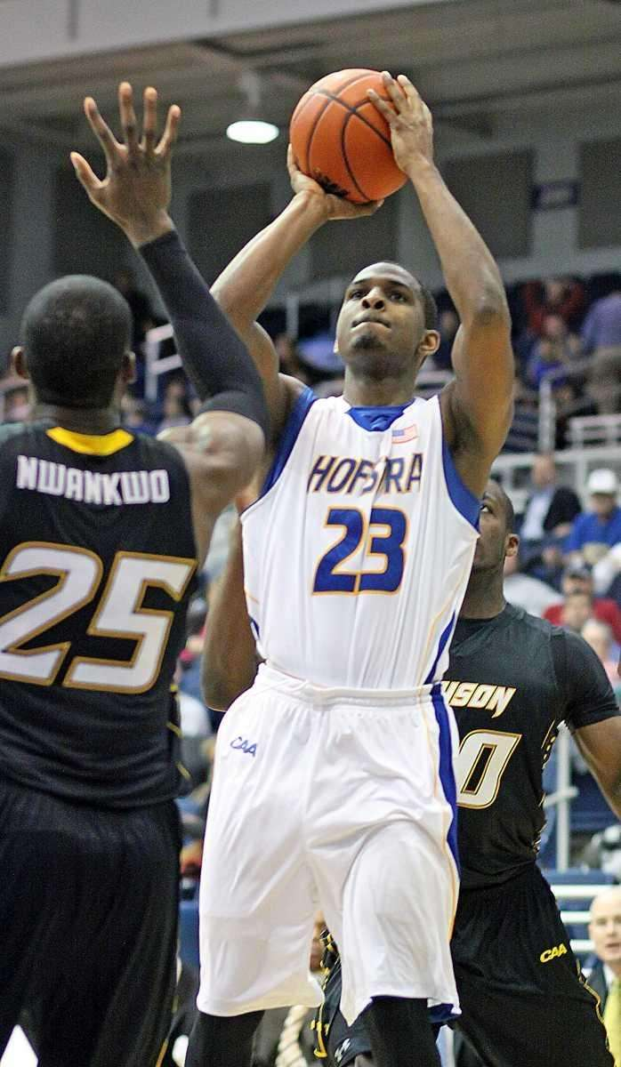 Hofstra's Mike Moore shoots outside during Hofstra win