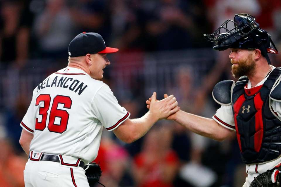 Atlanta Braves relief pitcher Mark Melancon (36) and