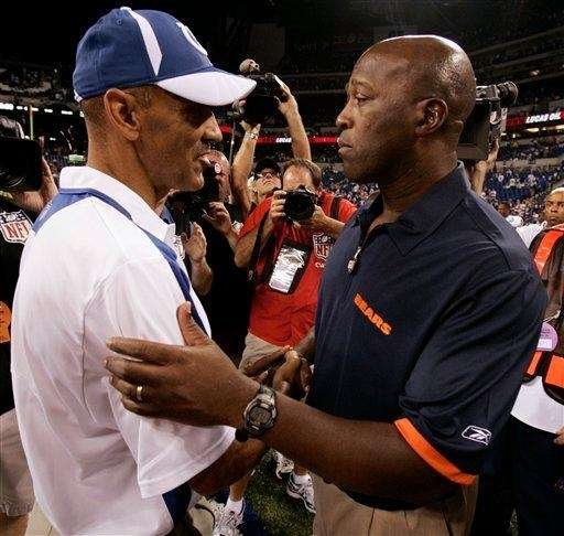TONY DUNGY, LOVIE SMITH Football Dungy and Smith