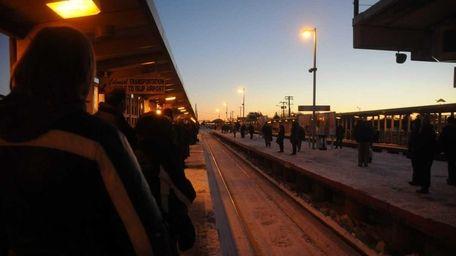 LIRR commuters wait for a 7:10 a.m. train