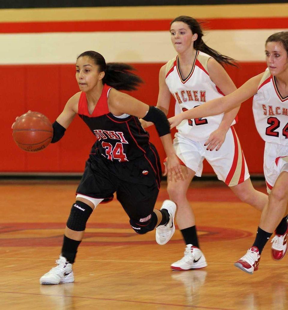 Long Island Lutheran forward Lauren Brozowski moves the