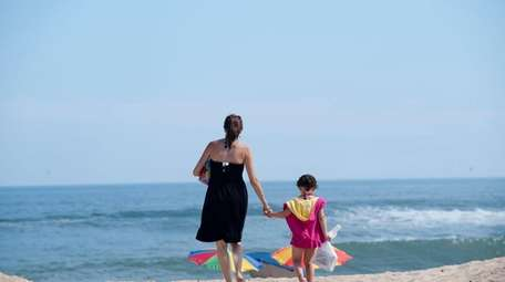 A mother and daughter at Kirk Beach in