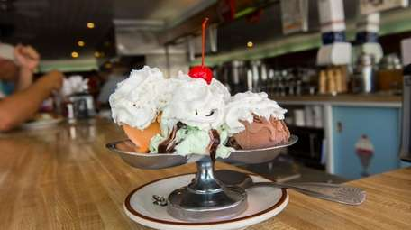 The Four Queens sundae, with chocolate, mint chocolate