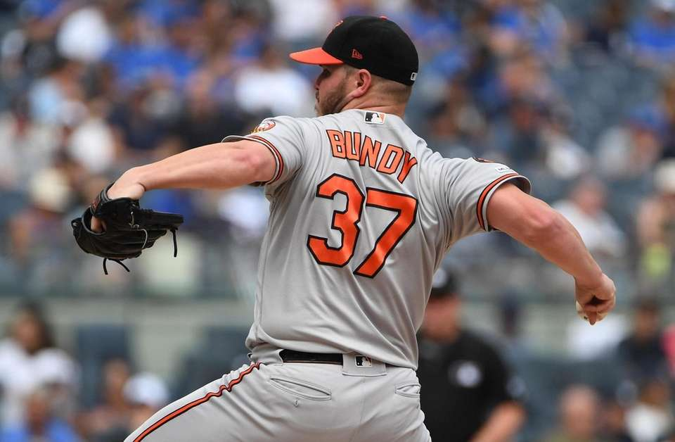 Baltimore Orioles starting pitcher Dylan Bundy delivers a