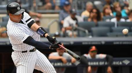 Yankees catcher Gary Sanchez hits a three-run home