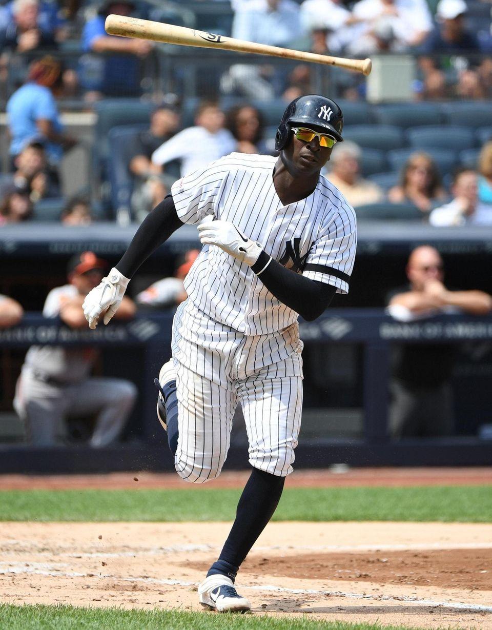 New York Yankees shortstop Didi Gregorius tosses his