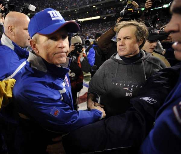Tom Coughlin and Bill Belichick shake hands at