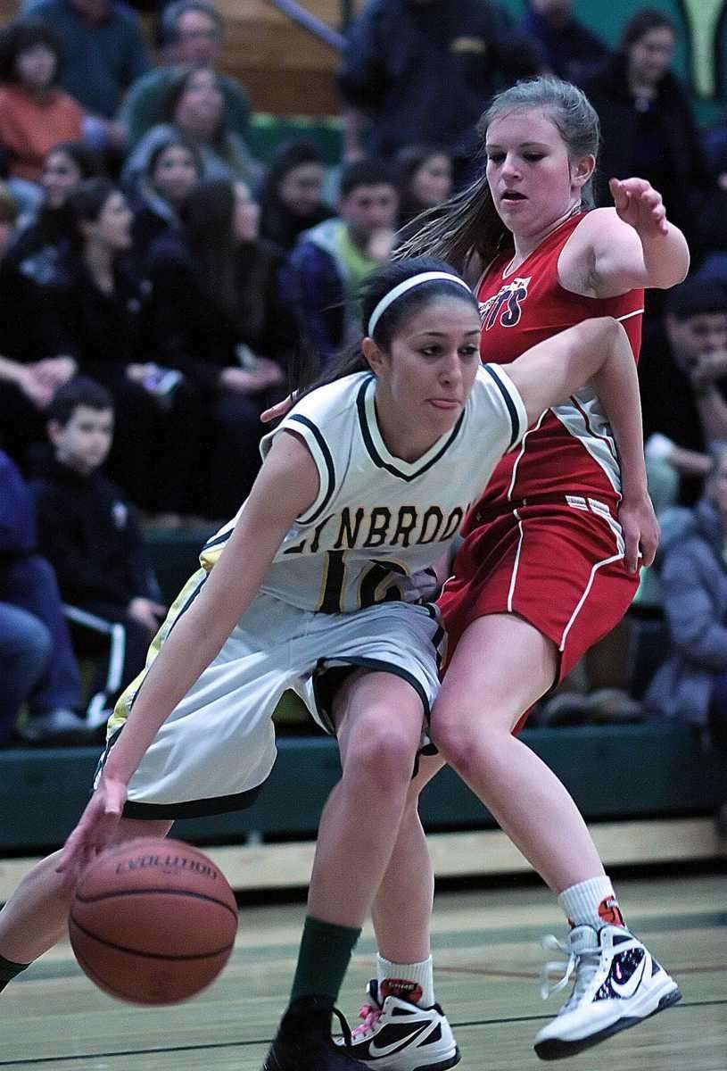 Lynbrook's Brooke Gerstman drives the baseline. (Feb. 3,