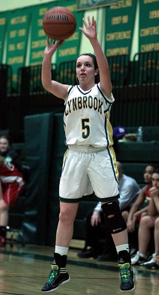 Lynbrook's Shannon Baker launches an outside shot. (Feb.