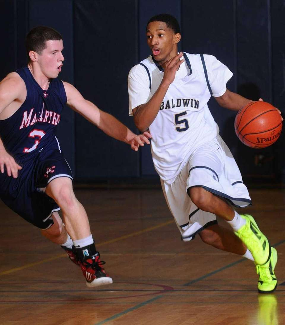 Baldwin guard Mykeil Tzul, right, looks to dribble