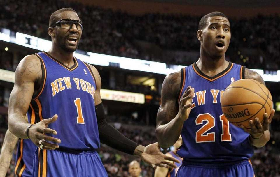 New York Knicks' Amar'e Stoudemire and Iman Shumpert