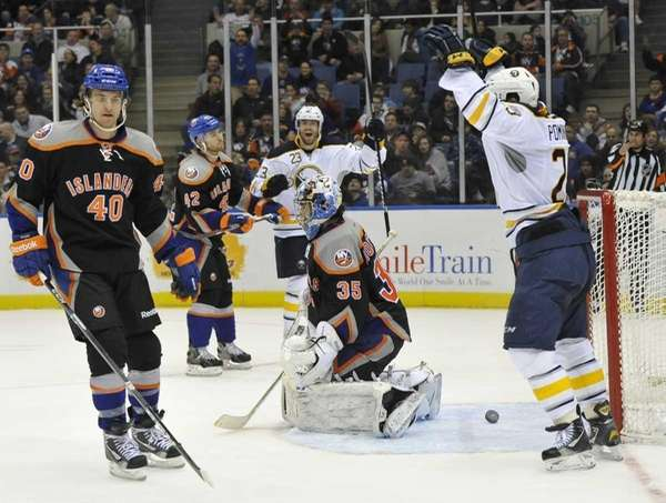 Buffalo Sabres' Ville Leino and Jason Pominville celebrate