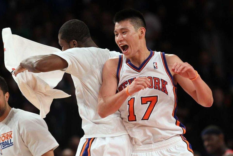 Jeremy Lin of the New York Knicks celebrates