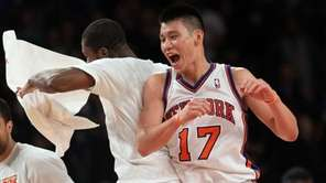 Jeremy Lin of the New York Knicks celebrates