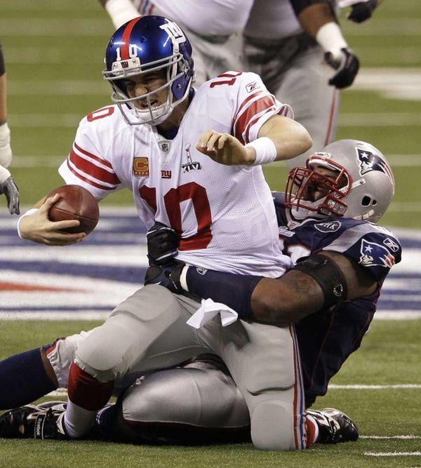 New England Patriots defensive end Brandon Deaderick sacks