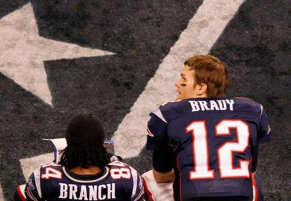 Quarterback Tom Brady and Deion Branch of the