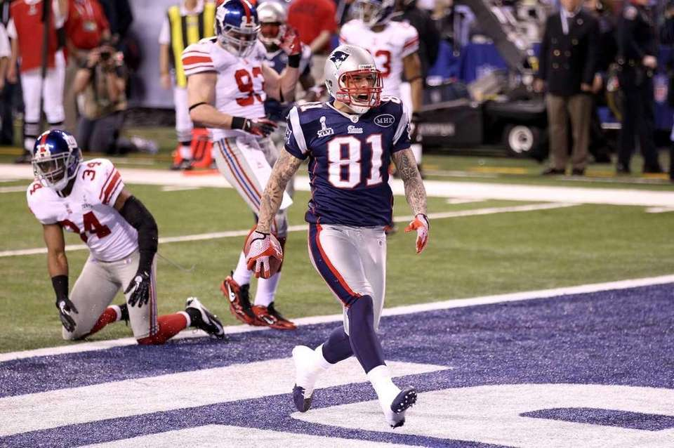 Aaron Hernandez of the New England Patriots celebrates