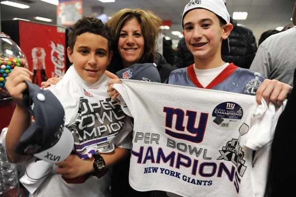 Giants fans Naomi Levine and her two sons,