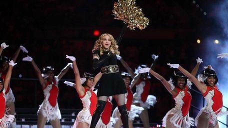 Madonna performs at the Bridgestone Super Bowl XLVI