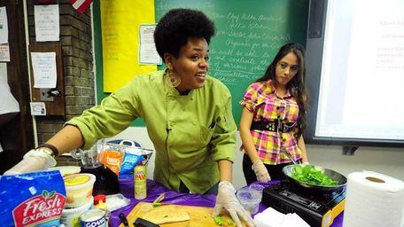 Chef Nilka Hendricks teaches Hempstead High School students