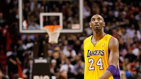 Kobe Bryant of the Los Angeles Lakers looks