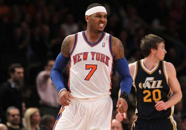 Carmelo Anthony of the New York Knicks grimaces
