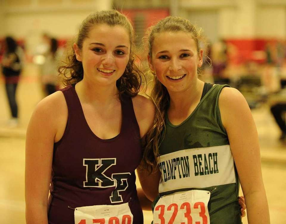 Westhampton Beach's Annica Penn, right, placed first, and