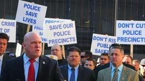 Nassau PBA president James Carver leads a rally